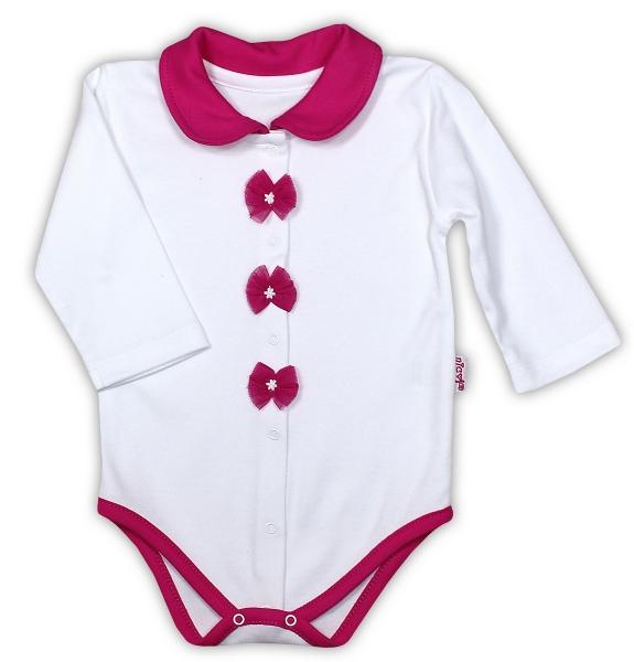 Bavlněné body NICOL GEPARDÍK s límečkem - dlouhý rukáv - zapínání středem - bílá