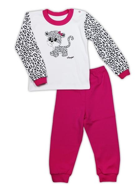 Bavlněné pyžamko NICOL GEPARDÍK - bílá/růžová