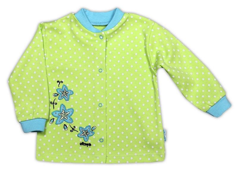 Bavlněná košilka NICOL KVĚTINKA - zelená puntík, Velikost: 80 (9-12m)