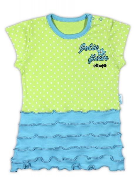 Bavlněná tunika/tričko NICOL KVĚTINKA - krátký rukáv, Velikost: 74 (6-9m)