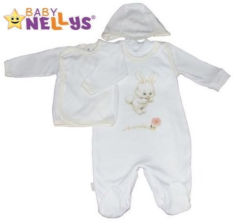 4-dílná kojenecká sada oblečení do porodnice Baby Nellys ® - bílá/smetanový lem (Velikost: 68 - různé obrázky na dupačkách)