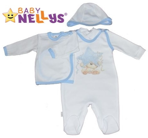 4-dílná kojenecká sada oblečení do porodnice Baby Nellys ® - bílá/sv. modrý lem (Velikost: 68 - různé obrázky na dupačkách)