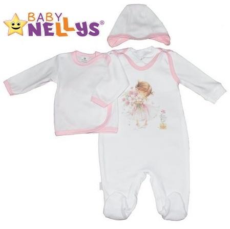 4-dílná kojenecká sada oblečení do porodnice Baby Nellys ® - bílá/sv. růžový lem (Velikost: 68 - různé obrázky na dupačkách)