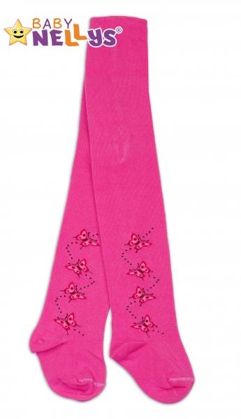 Bavlněné punčocháče Baby Nellys ®  - Motýlci  tm. růžové