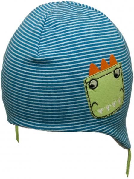 Bavlněná čepička YO ! DRÁČEK - modrá proužek/šedá - se zavazováním