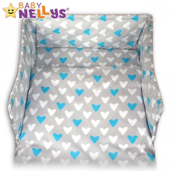 Mantinel s povlečením Baby Nellys ® - Srdíčka tyrkysová/bílá v šedé, 135x100
