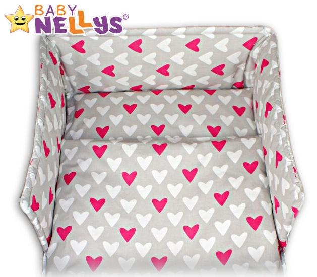 Mantinel s povlečením Baby Nellys ®- Srdíčka růžová/bílá v šedé,135x100