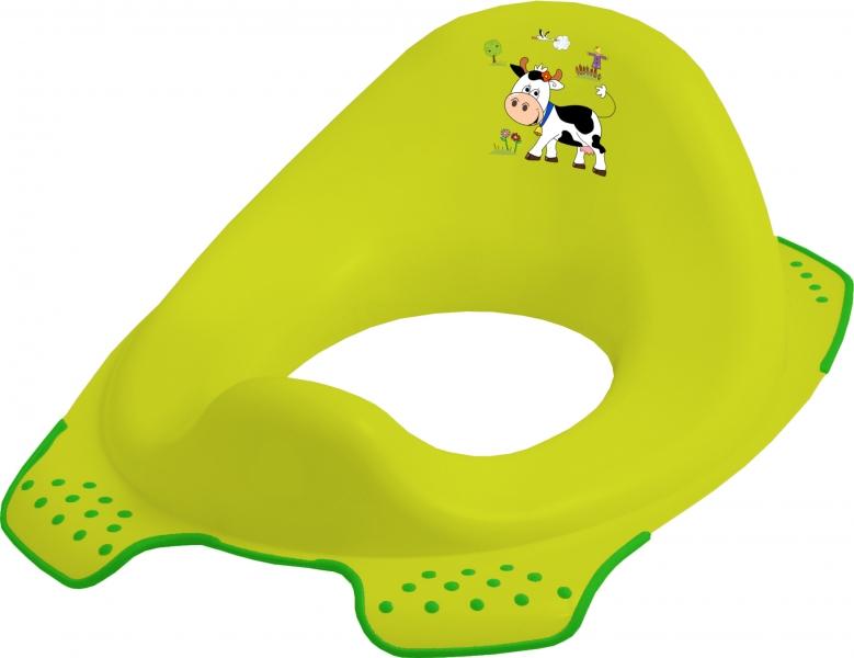 Adaptér - treningové sedátko na toaletu Funny Farm - zelený (s protiskluzovou funkcí. Zelené)