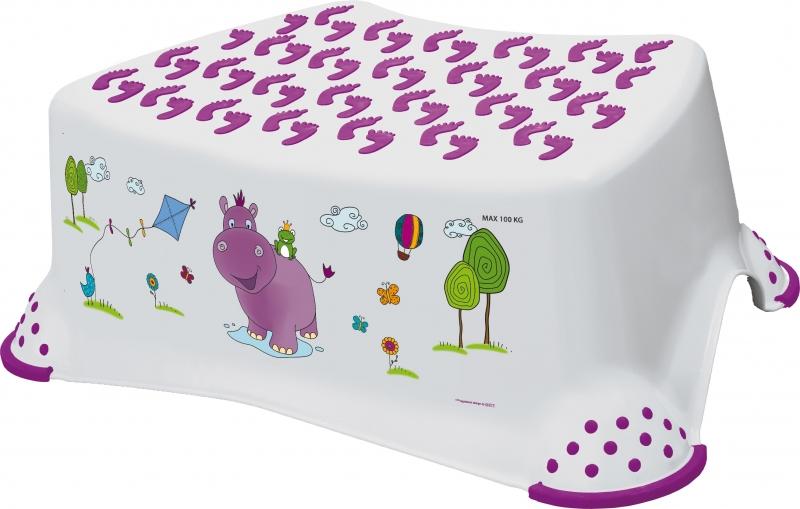 Stolička, schůdek s protiskluzovou funkcí  - Hippo - bílá