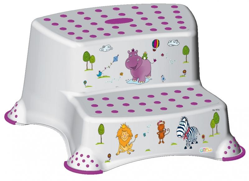 Stolička - schůdky s protiskluzovou funkcí - Hippo - bílá