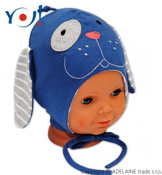 Bavlněná čepička YO ! PEJSEK - modrá/šedý proužek - se zavazováním
