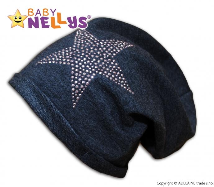 Bavlněná čepička Baby Nellys ® - Hvězdička stříbrná, Velikost: 1,5-4 roky