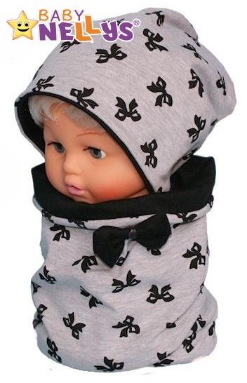 Bavlněná sada čepička a nákrčník s mašličkami Baby Nellys ® - šedý melírek