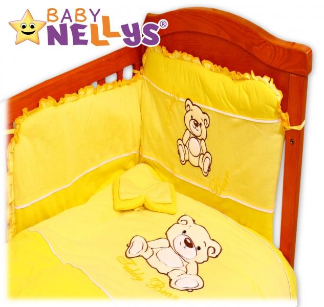 BABY NELLYS Povlečení do postýlky Teddy Bear - jersey - žluté