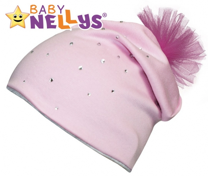 Bavlněná čepička Tutu květinka s kamínky Baby Nellys ® - sv. růžová, Velikost: 48/50 čepičky obvod