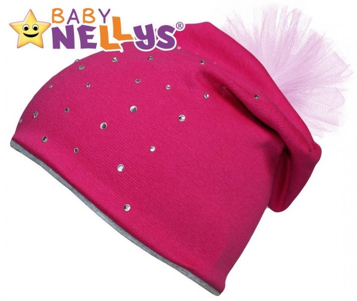 Bavlněná čepička Tutu květinka s kamínky Baby Nellys ® - sytě růžová, 48-52