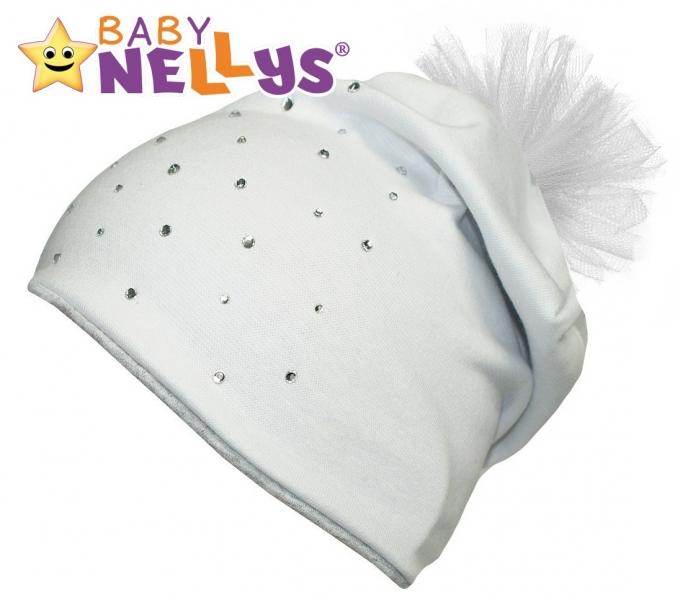 Bavlněná čepička Tutu květinka s kamínky Baby Nellys ® - bílá, 48-52