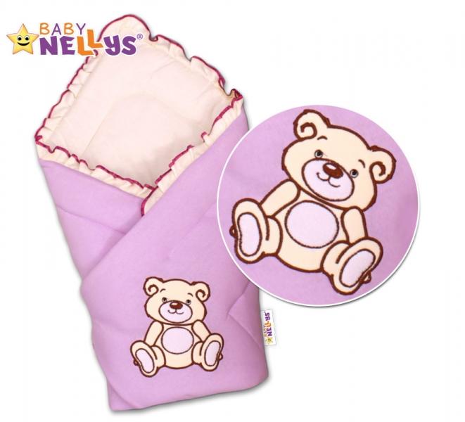 Baby Nellys Zavinovačka Teddy Bear- velur - lila