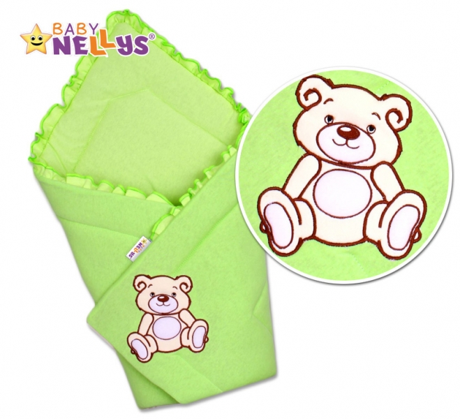 Baby Nellys Zavinovačka Teddy Bear - velur - zelená