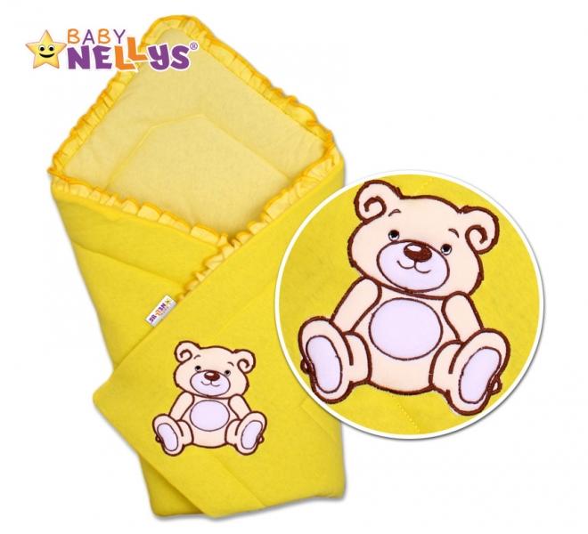 Baby Nellys Zavinovačka Teddy Bear - velur - žlutá