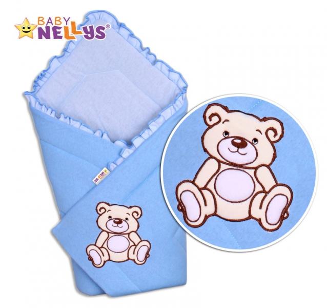 Zavinovačka TEDDY BEAR Baby Nellys - velur - modrá