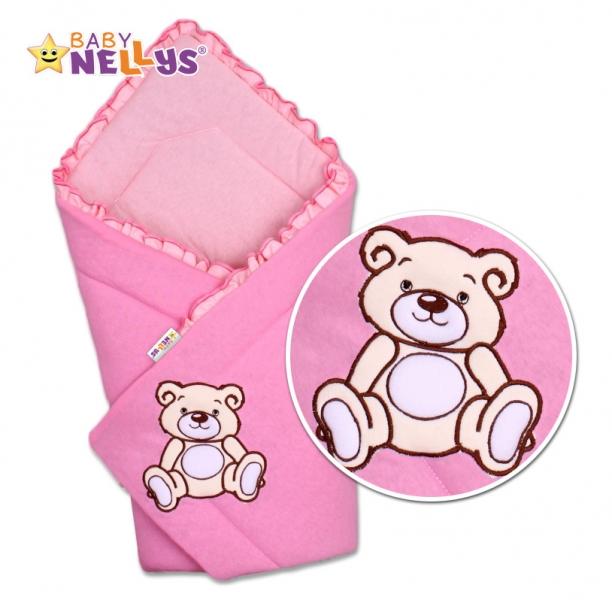 Baby Nellys Zavinovačka Teddy Bear  - velur - růžová