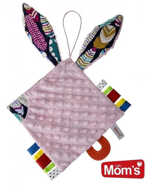 Edukační hračka Hencz KOSTIČKA šustík, s kousátkem - MINKY - růžová