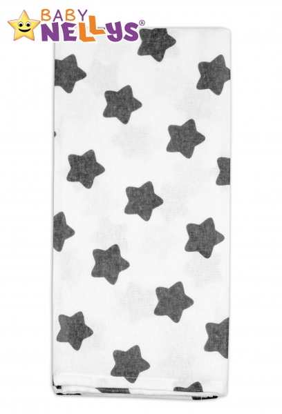 Flanelová plenka -  Hvězdy šedé v bílé