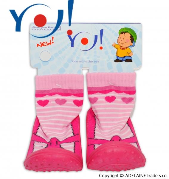 YO ! Ponožtičky s gumovou šlapkou - balerinky s proužkem
