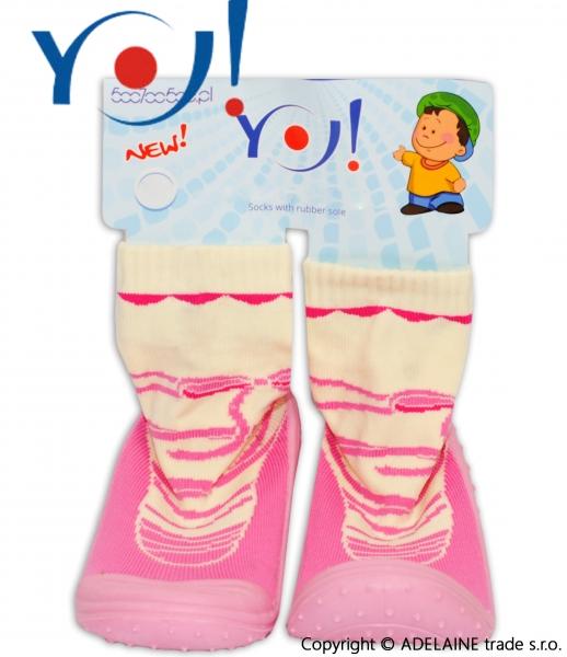 YO ! Ponožtičky s gumovou šlapkou - smetanová růžový proužek