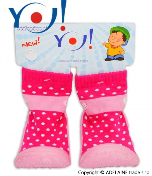 YO ! Ponožtičky s gumovou šlapkou - růžová puntík