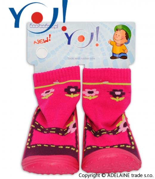 YO ! Ponožtičky s gumovou šlapkou - balerínky květinka