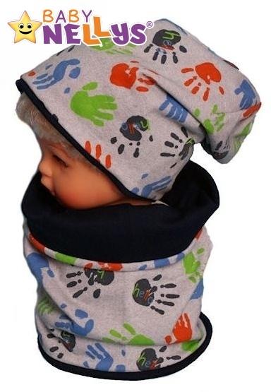 Bavlněná sada čepička a nákrčník s ručičkami Baby Nellys ® - šedá