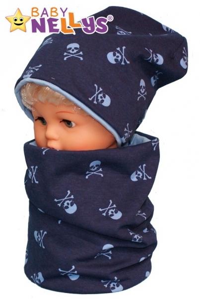 Bavlněná sada čepička a nákrčník s lebkami Baby Nellys ® - tm. modrá
