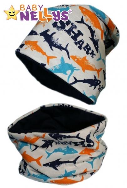 Bavlněná sada čepička a nákrčník se žraloky Baby Nellys ®