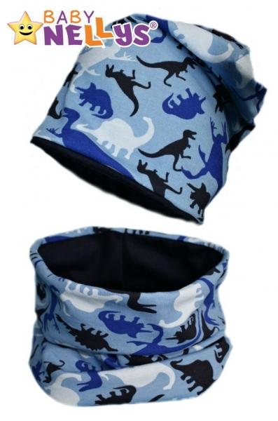 Bavlněná sada čepička a nákrčník Dino Baby Nellys ® - modrá