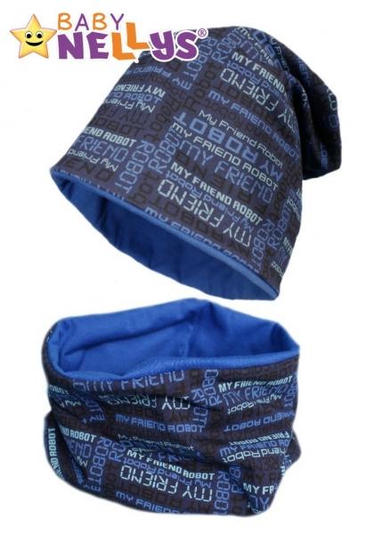 Bavlněná sada čepička a nákrčník s nápisy Baby Nellys ® - tm. modrá