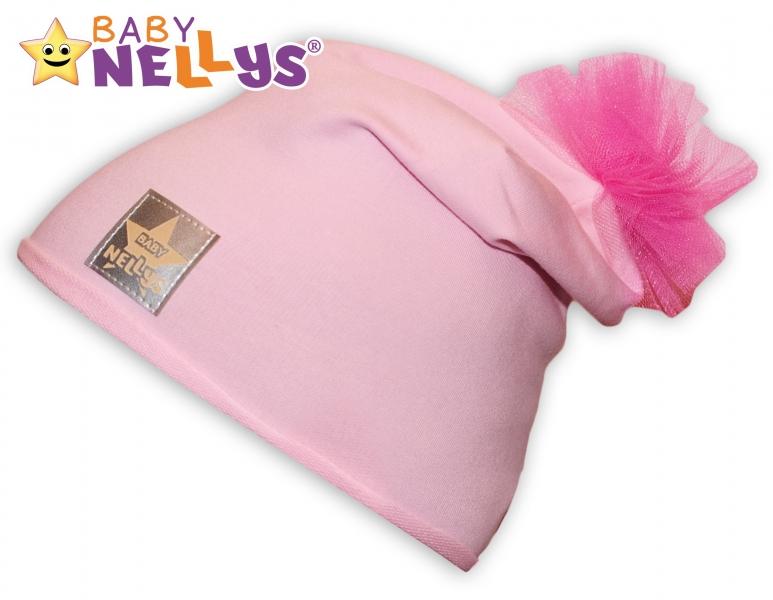 Bavlněná čepička Tutu květinka Baby Nellys ® - sv. růžová, 48-52