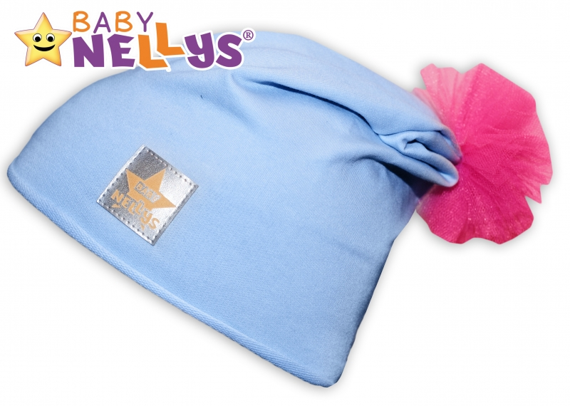 Bavlněná čepička Tutu květinka Baby Nellys ® - sv. modrá, 48-52