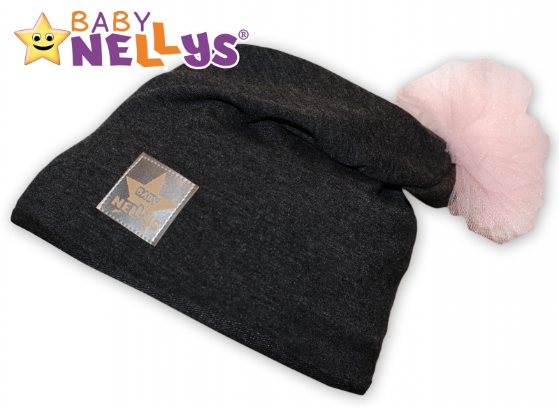 Bavlněná čepička Tutu květinka Baby Nellys ® - grafit, 48-52
