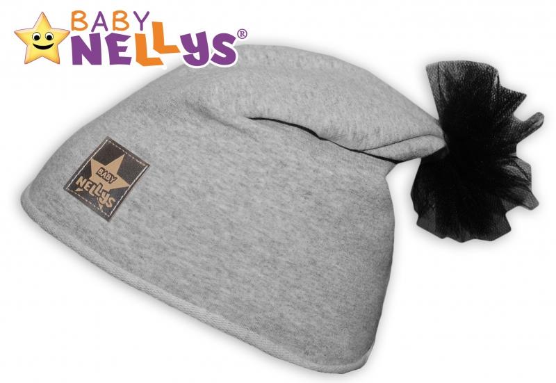 Bavlněná čepička Tutu květinka Baby Nellys ® - šedý melír, 48-52