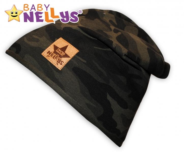 Bavlněná čepička Army Baby Nellys ® - zelená, 48-52, Velikost: 48/50 čepičky obvod