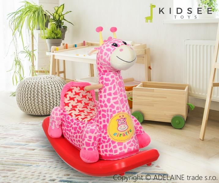 Plyšová houpací ŽIRAFKA - růžová (Žirafka, růžová, 3+)