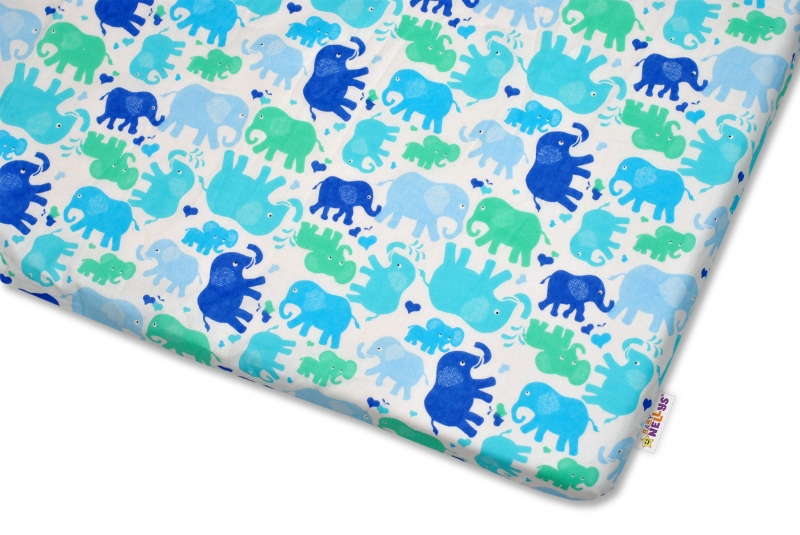 Bavlněné prostěradlo Baby Nellys - Modří sloni