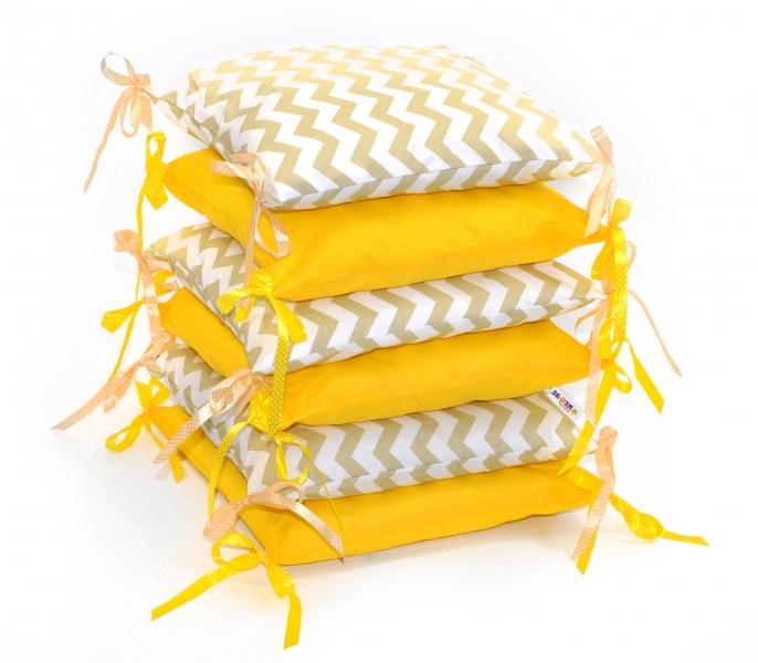 Mantinel Baby Nellys ® - polštářkový s povlečením  - zigzag béžový/žlutá