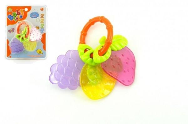 Chrastítko/Kousátko ovoce plast 12cm na kartě 3m+