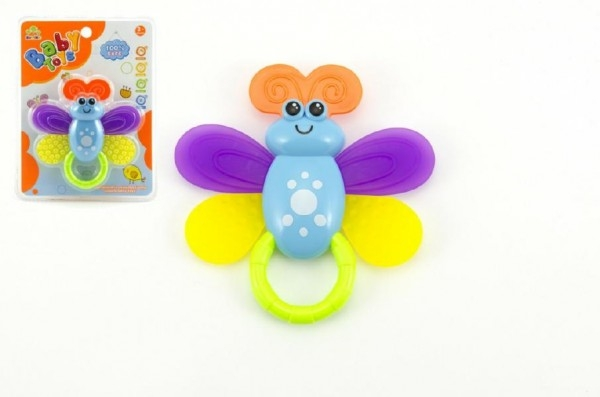 Chrastítko/Kousátko včelka plast 12cm na kartě 3m+