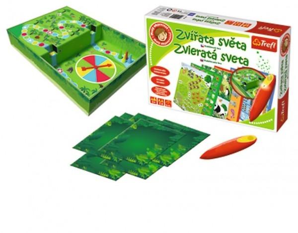 Malý objevitel Zvířata světa + kouzelná tužka edukační společenská hra v krabici 33x2
