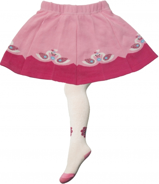YO ! Bavlněné punčocháčky se sukničkou - bílo/růžové s labuti