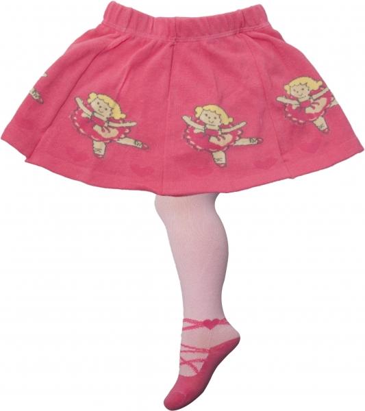 YO ! Bavlněné punčocháčky se sukničkou - sv. růžovo/malinové s baletkou